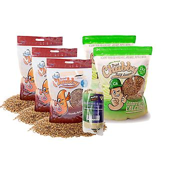 5Kg combo dried chubby mealworms & calci worms (+free suet cake)