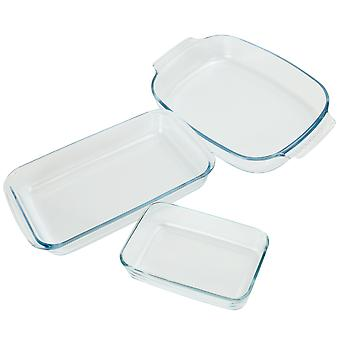Set of 3 Glass Oven Dishes | M&W