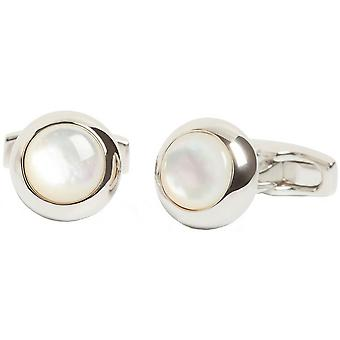 Simon Carter Gatsby Elegant Mother of Pearl Cufflinks - Argent/Blanc