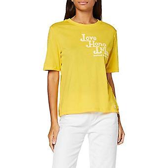 Camiseta escocesa y soda de algodón orgánico relajada con camiseta de arte, amarillo (amarillo brillante 1177), mujer mediana