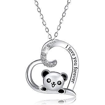 FengChun 925 Sterling Silber Panda Halskette, Panda Herz Anhänger Halskette graviert Ich liebe dich