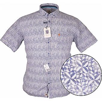 HATICO Hatico Mens Big Size Casual Wash Faded Button Down Geometric Print Short Sleeve Shirt Blue