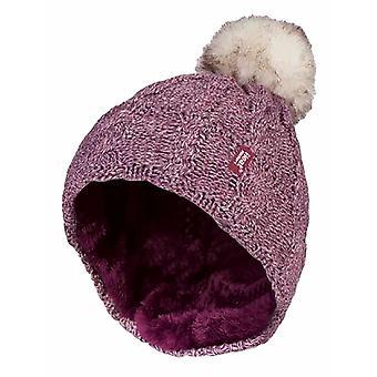 Damer fleece fodrad termisk hatt med pom pom