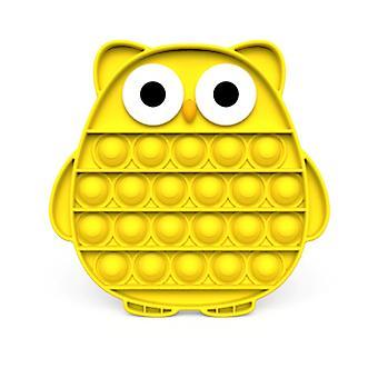 Stuff Certified® Pop It - Fidget Anti Stress Toy Bubble Toy Silicone Owl Yellow