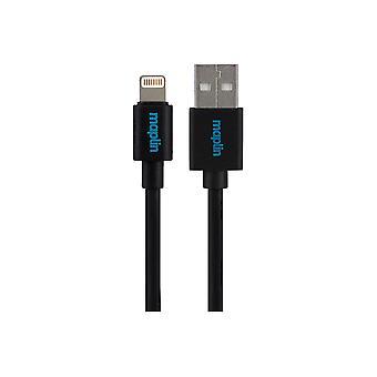 Maplin Premium Lightning-kontakt till USB A Hankabel 0,75 m svart