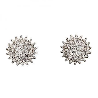 Elements Gold Urchin Diamond Cluster Yellow Gold Earrings GE2382