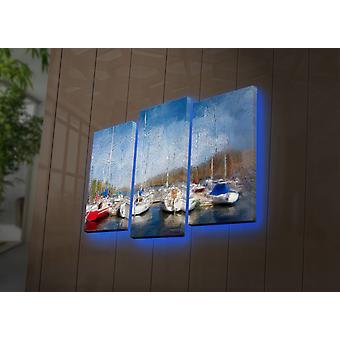 3PATDACT-9 Mehrfarbige dekorative LED beleuchtete Leinwand Malerei (3 Stück)