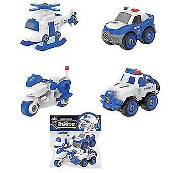 פירוק צעצוע רכב 4pcs תברואה מכונית הנדסת פאזל להגדיר DIY בורג בורג נשלף הרכבה