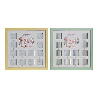 Photo frame DKD Home Decor My First Year Multiple MDF Wood (2 pcs) (32 x 1.5 x 32 cm)