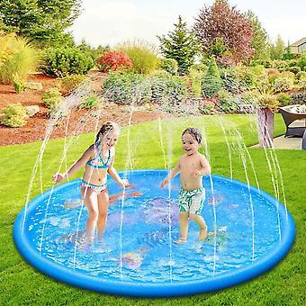 170CM Splash Pad, Sprinkler Wasser-Spielmatte Splash Play Matte mit 15 Anti-Rutsch-Streifen, Sommer