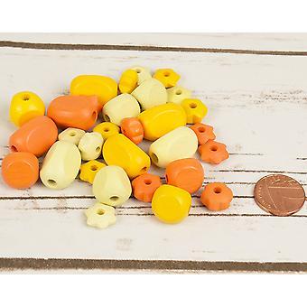 Assorterede gul Mix med blomst form træ Threading perler for håndværk - 30pk