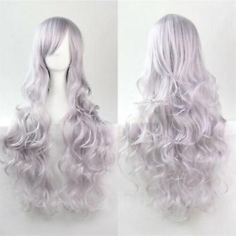 (Grau) Frau Lange Lockige Perücken Cosplay Halloween Kostüm Anime Haare Wellen Volle Perücke Haar