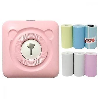 Mini portable termisk etiket peripage printer rejse trådløse printere (pink)