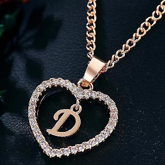 נשים תכשיטים שם ראשי תיבות שרשרת תליון לב 26 אותיות אהבה שרשראות בנות מתנות הראשון