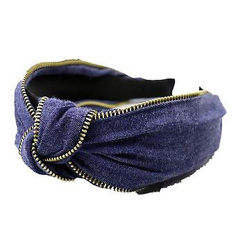 2PCS Fashion Blue Hairband For Women Winter Hair Accessories Denim Headband Metal Zipper Decoration