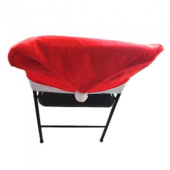 6pcs Christmas Chair Cover Santa Claus Cap Chaircase Red Hat Chair Covering