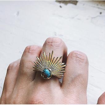 Anello della dea del sole con turchese di ostrica di rame