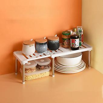 Adjustable Storage Rack Kitchen Cupboard Storage Shelf Retractable Bathroom  Holders & Racks