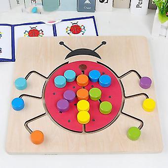 צעצועי עץ חינוכיים ילדים צבע גיאומטריה קוגניטיבית לוח ספירה משחק 