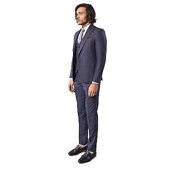 Patterned dark blue suit for men   wessi