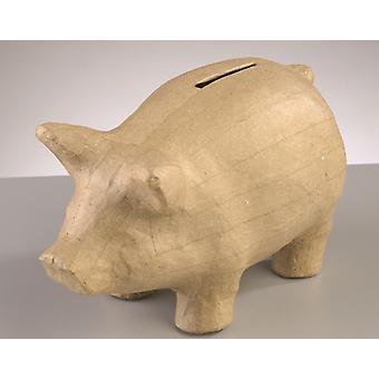 17cm Pig Shaped Paper Mache Money Box Piggy Bank (fr) Formes Papier Mache