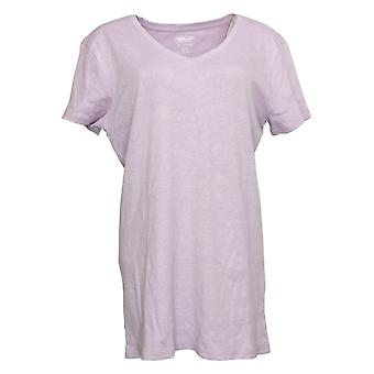 Kirkland Signature Women's Top XXL Ladies' Cotton V Neck Tee Purple