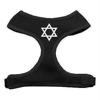 Pet collars harnesses 70-26 smbk star of david screen print soft mesh harness black small
