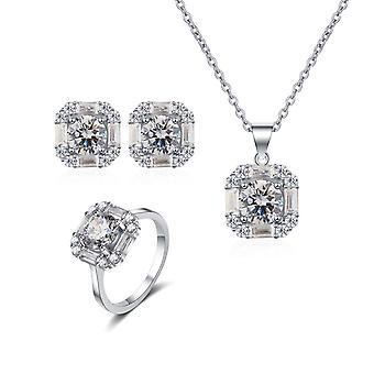 Wedding Dress Jewellery/sterling Silver Women's Jewelry Set/necklace Earrings Ring 3packs