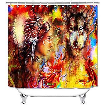 4pcs Bathroom Decor Set Bath Rug Wolf With Girl Pattern