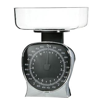 Kitchen Scale Chrome Effect/ Clear Bowl For Baking Cooking Max. 5kg/ 11lbs