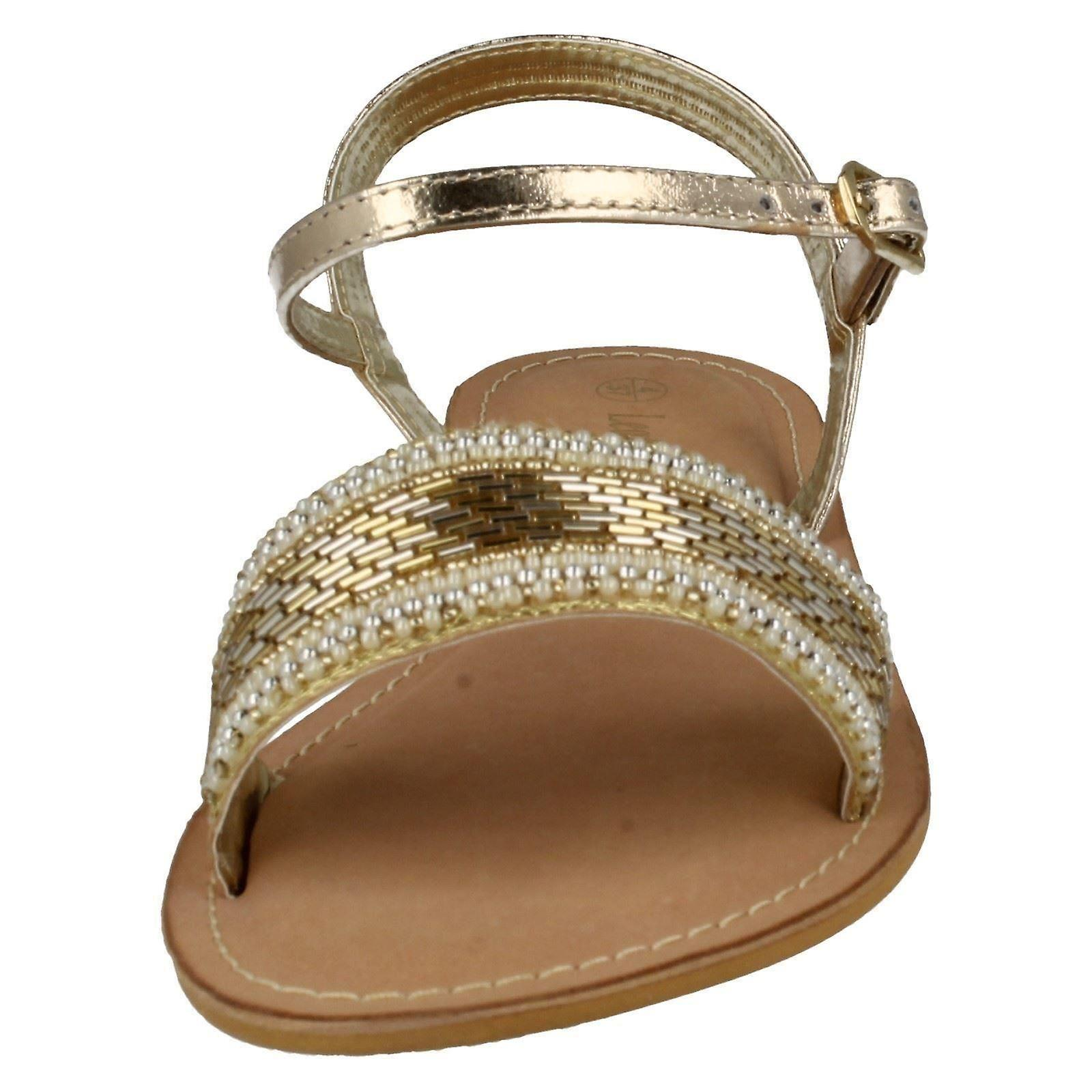 Ladies Spot On Leather Collection Beaded Sandals F0896