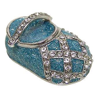Étain bleu bébé chaussure bijoux boîte à charnière
