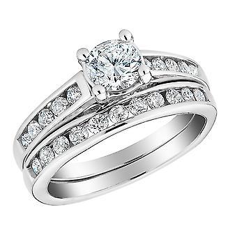 1.00 Carat (ctw H-I-J, I2-I3) Diamond Engagement Ring and Wedding Band Setin 10K White Gold