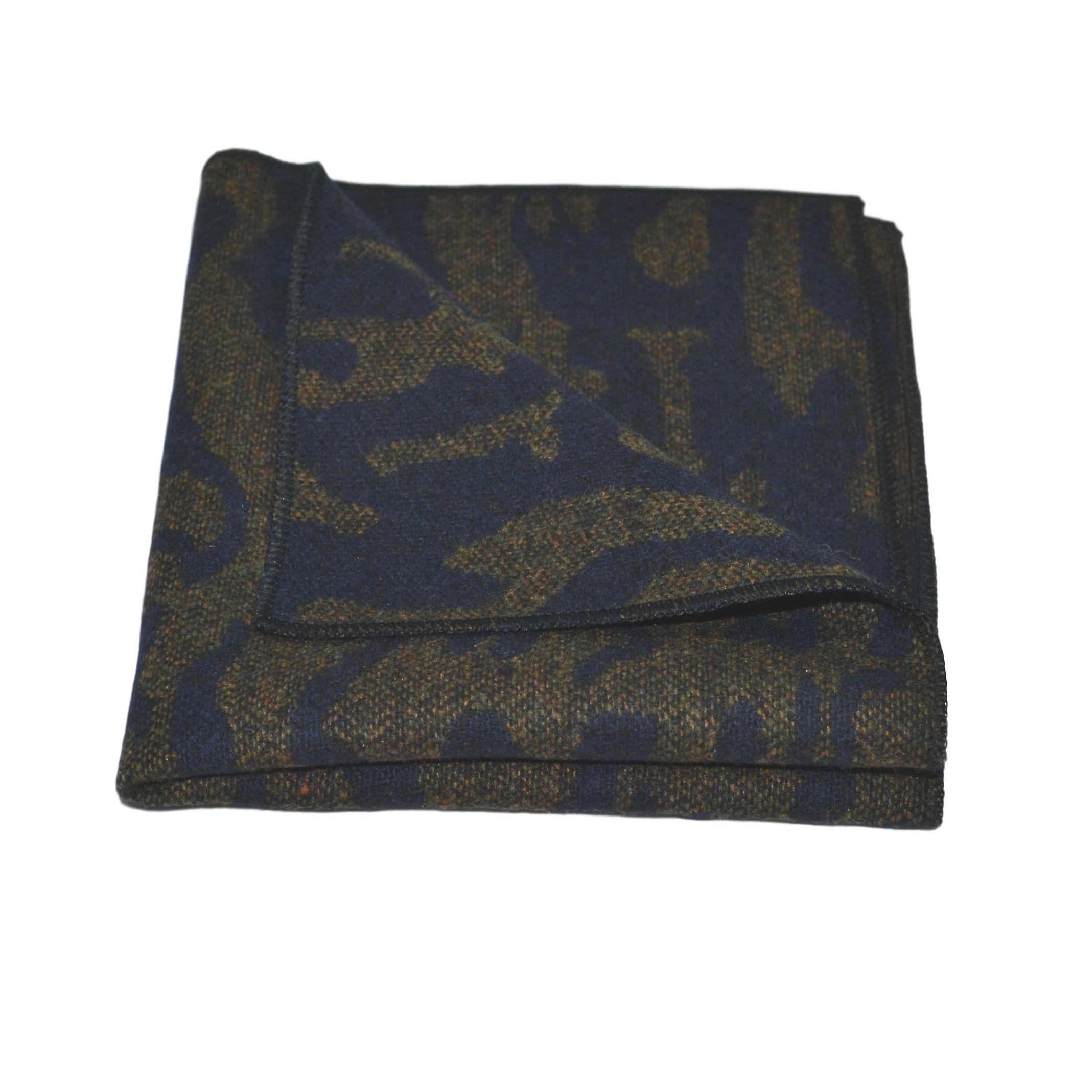 Luxury Arabic Navy Blue Pattern Bow Tie & Pocket Square Set