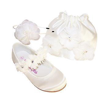 Girls ivory satin flower girl bridesmaid ballerinas and bag