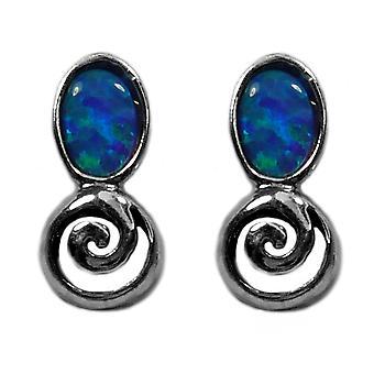 Sterling Silber Rhodium plattiert griechischen Spirale Schlüssel mit synthetischen Opal Ohrringe, 5 x 12mm