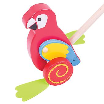 Bigjigs Toys Wooden Parrot Push Along Walker Walking Mobility Baby Toddler