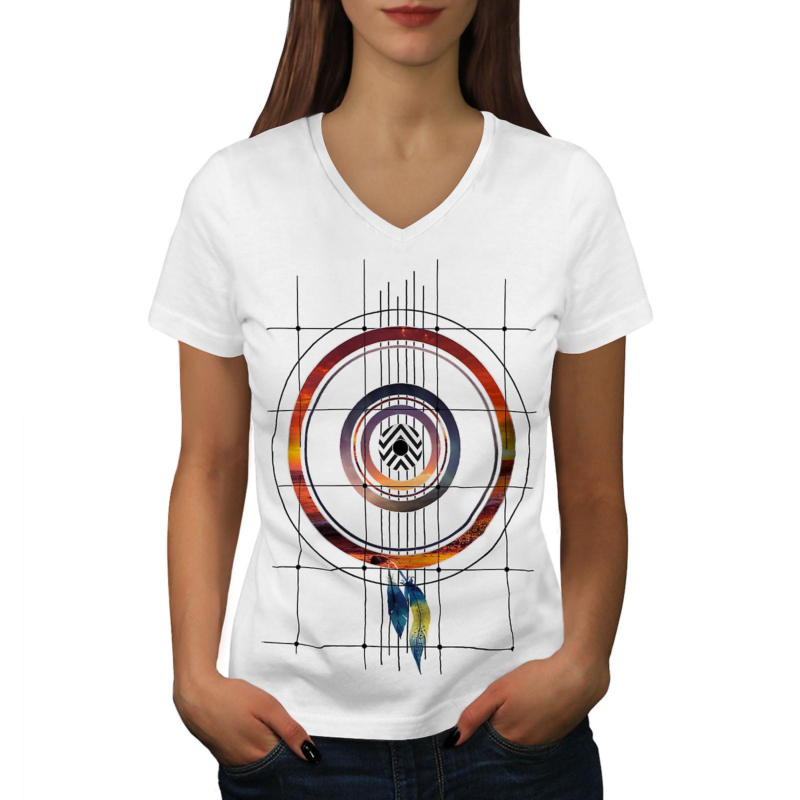 Dream Catcher femmes WhiteV-Neck T-shirt | Wellcoda