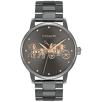 Coach Womens Grand Black Ip Plated Case & Bracelet Rose Gold Print 14502924 Watch