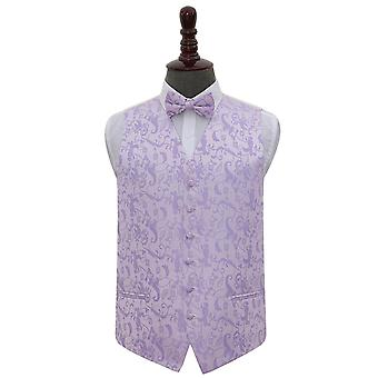 Lilac Floral Wedding Waistcoat & Bow Tie Set