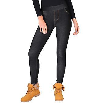 KRISP Womens warme fleece gevoerde Stretch Denim jeans thermische legging Jeggings broek