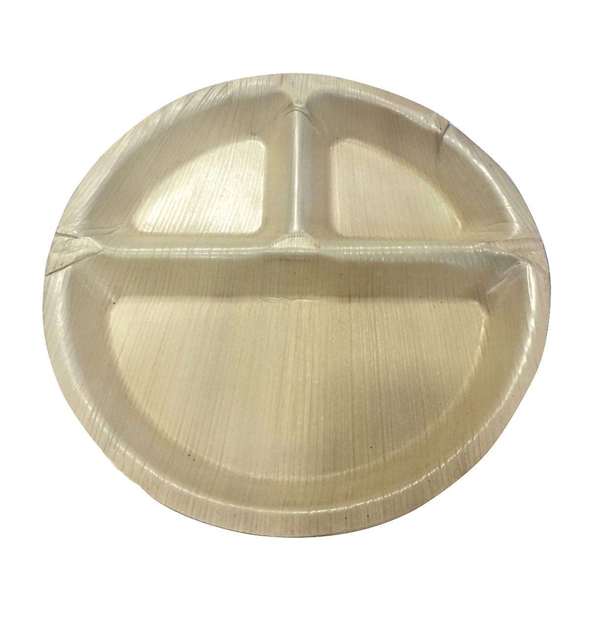 Öko-Einweg-Party-Platten - 25 Cm rund mit 3 Partitionen (25 Platten)