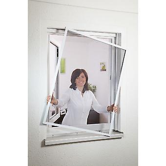 Fliegengitter Insekten-schutz Fensterbausatz flächenbündig 130 x 150 cm in Anthrazit - geringe Einbau-tiefe
