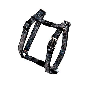 Rogz Lapz Trendy Bone Design Durable Dog H-Harness, Preto