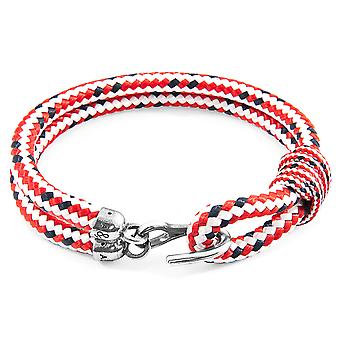 Anchor & Crew Red Dash Great Yarmouth Silver and Rope Bracelet