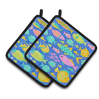 Carolines Treasures  VHA3034PTHD Little Colorful Fishes Pair of Pot Holders