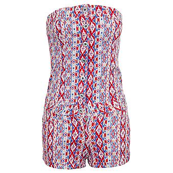 Ladies Boobtube Summer Stripe Printed Denim Shorts Hot Pants Women's Playsuit