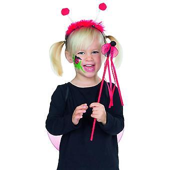 Marienkäfer Set 3tlg. Kinder Haarreif mit Fühlern Flügeln Stab Accessoire Karneval Marienkäfer Kostüm