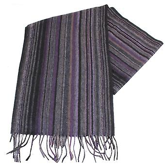 Bassin and Brown Stefano Striped Wool Scarf - Purple/Grey