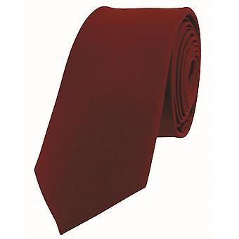David Van Hagen Luxury ohut Satiini silkki solmio - punainen